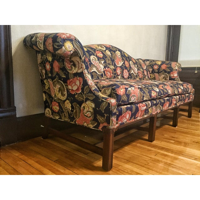 Chippendale Hickory Chair Co Chippendale Style Floral Upholstered Camel Back Sofa For Sale - Image 3 of 5