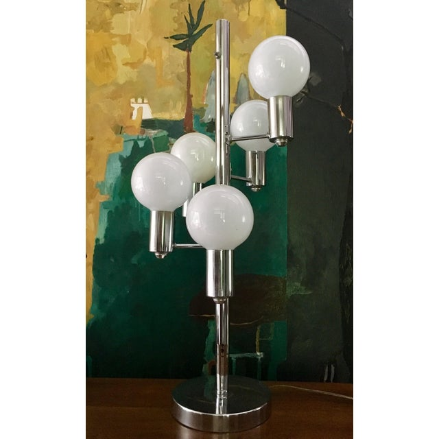 Boho Chic Mid Century Chrome Waterfall 5 Globe Lamp For Sale - Image 3 of 10