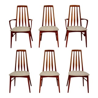 Koefoeds Hornslet Danish Teak & Grey Eva Sining Chairs- Set of 6 For Sale