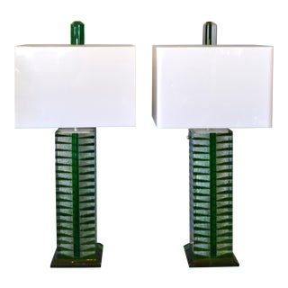 Contemporary Green, White & Clear Lucite, Nickel Table Lamps With Shades - Pair For Sale