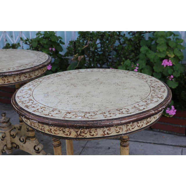 1950s Campaign Carved and Hand Painted Tall Center Tables - a Pair For Sale - Image 11 of 12