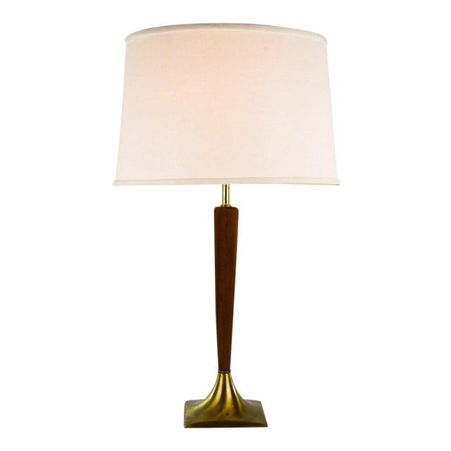 Danish Modern Teak & Brass Table Lamp For Sale