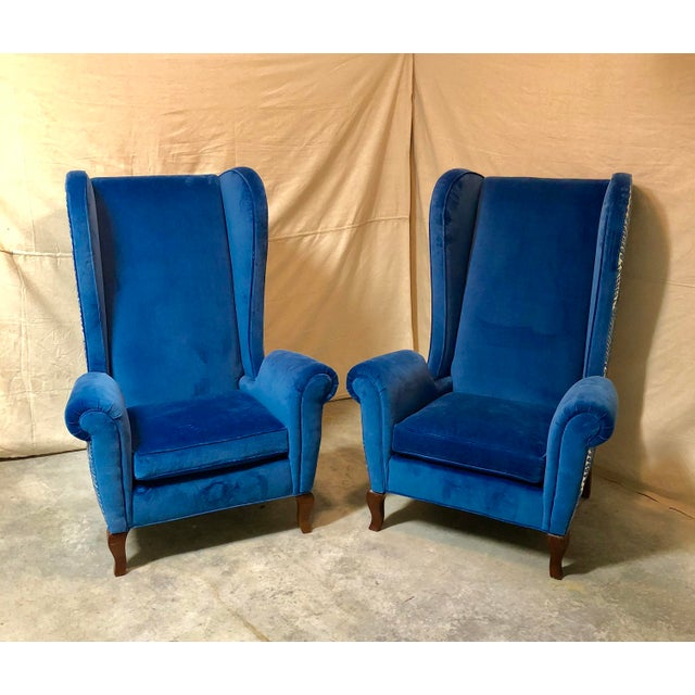 Blue Blue Wingback Chairs - A Pair For Sale - Image 8 of 8