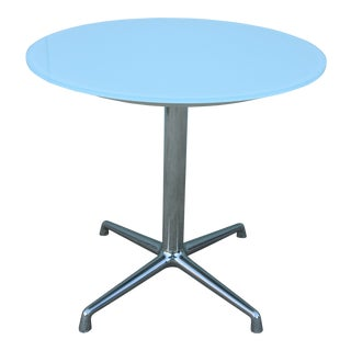 "Modern Scott Wilson 30"" Round White Glass Top Dining / Conference Table For Sale"