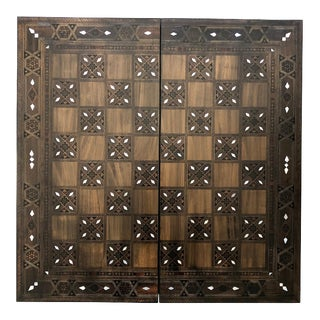 Vintage Syrian Inlaid Mosaic Backgammon and Chess Game For Sale