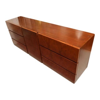 1970s American Milo Baughman for Lane Olive Wood Burl Dresser or Credenza For Sale