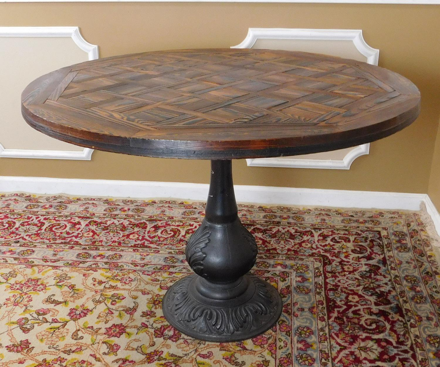 Traditional Hand Hewn Sectional Parquet Oak Top Round Kitchen Dining Table  W/ Cast Iron Base
