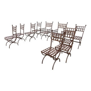 Giacometti Style Iron Chairs - Set of 10 For Sale