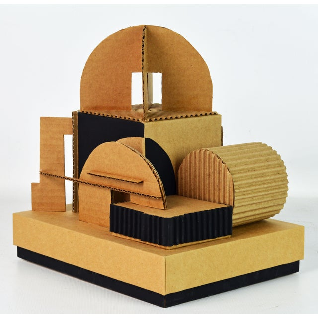 Early 21st Century Cubist Bauhaus Style Architectural Cardboard Table Sculpture by Virgil Greca For Sale - Image 5 of 13