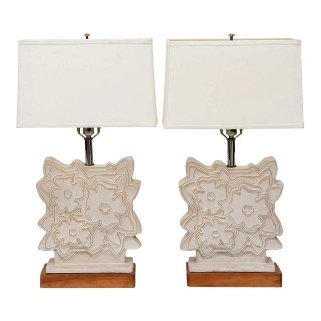 Pair of Italian Modern Ceramic Lamps, Raymor For Sale