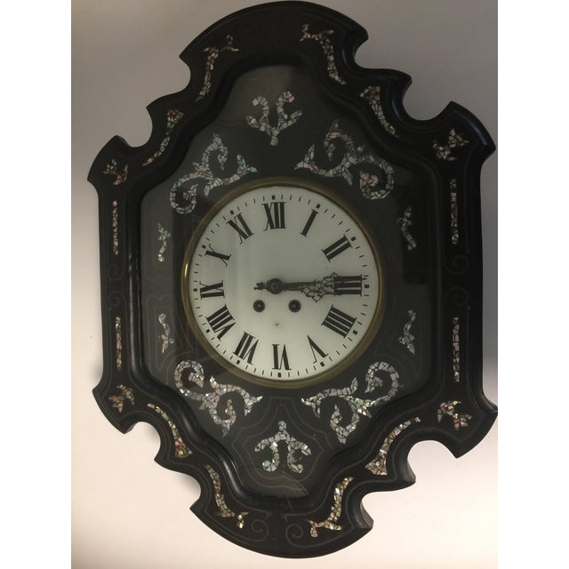 French Napoleon III Ebony and Mother of Pearl Inlay Wall Clock For Sale - Image 3 of 11