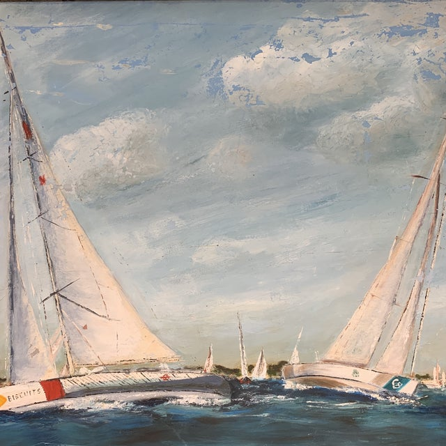 Antique Sailboat Painting Framed For Sale - Image 4 of 13