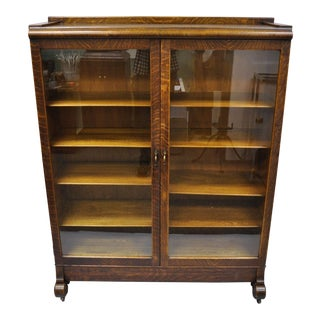 20th Century Victorian Golden Tiger Oak Glass Double Door China Cabinet Bookcase For Sale