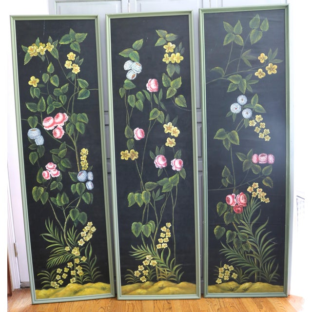 Green Hand Painted Screen Panels Oil on Canvas Floral Still Life - Set of 3 For Sale - Image 8 of 8