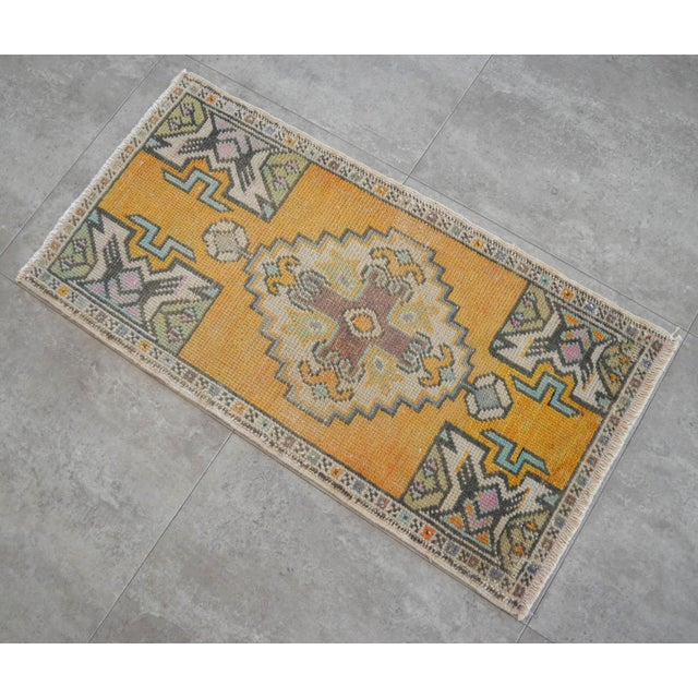 Distressed Rug Low Pile Hand Knotted Yastik Rug Faded Mat- 18'' X 36'' For Sale - Image 4 of 4