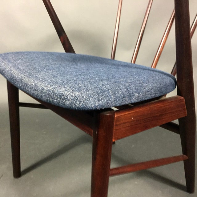 Blue Rosewood Spindle-Back Armchair, Helge Sibast, Denmark 1950s For Sale - Image 8 of 10
