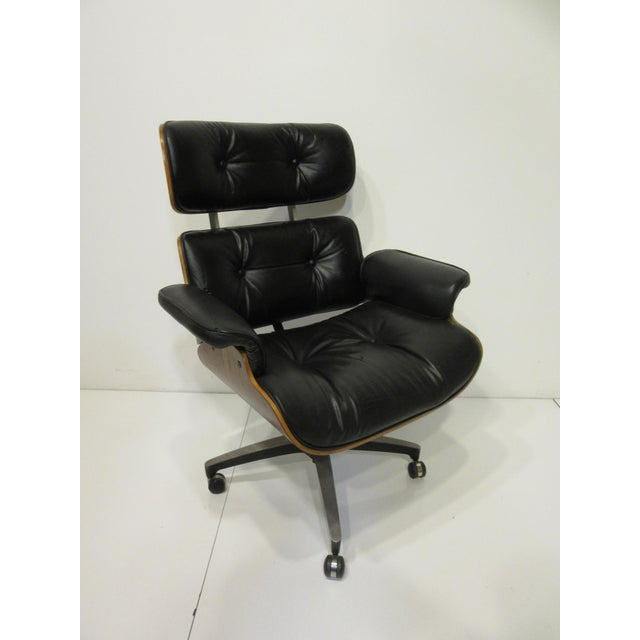 Mid-Century 670 Walnut / Leather Rolling Desk Chair by Selig For Sale - Image 10 of 11