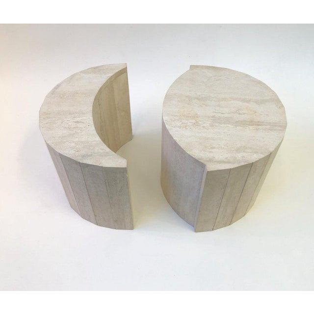 1970s Oval Italian Travertine Cocktail Table by Willy Rizzo For Sale - Image 5 of 11