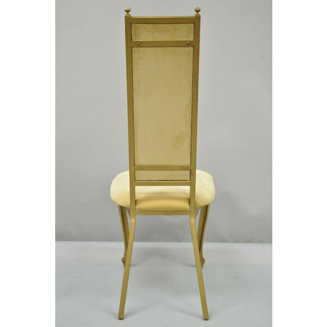 Vintage Kessler French Hollywood Regency Style Cast Metal Tall Back Side Chair For Sale - Image 11 of 12