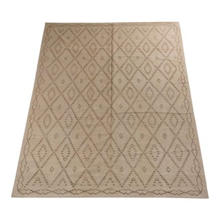 Moroccan Patterned Beige and Brown Area Rug For Sale