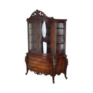 French Louis XV Style Vintage Custom Flame Mahogany Bow Glass China Cabinet For Sale