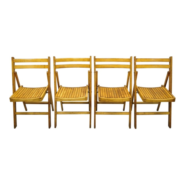 1950s Vintage Wood Slat Folding Dining Game Chairs- Set of 4 For Sale