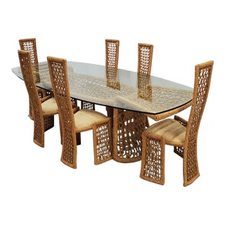 Marzio Cecchi Studio Most Scultural Macrame and Iron Dining Set - 7 Pieces For Sale