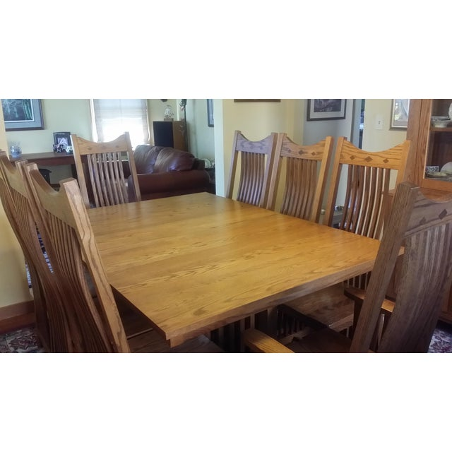 Wood Solid Quatersawn Oak Mission-Style Dining Set - Set of 9 For Sale - Image 7 of 13