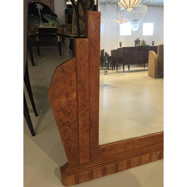 Art Deco French Art Deco Burl Wood Wall or Standing Mirror For Sale - Image 3 of 6