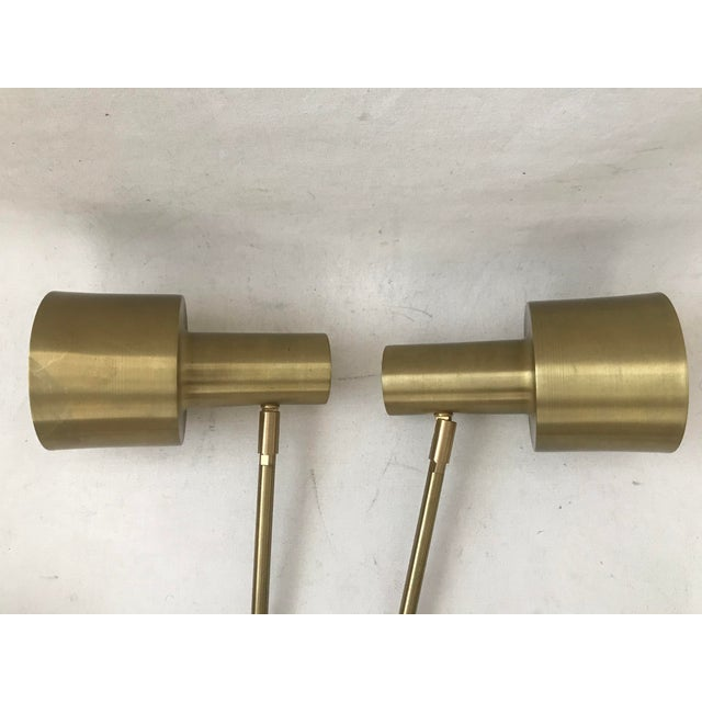 Metal Modern Cedar & Moss Brass Double Articulated Wall Lamps Sconce-A Pair For Sale - Image 7 of 12