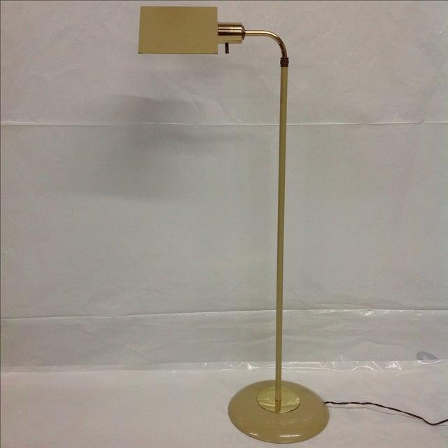 Mid-century beige and brass Pharmacy lamp.