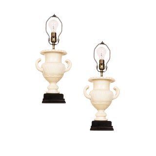Alabaster Urn Lamps - A Pair For Sale