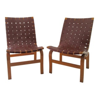 "Last Call: 1940-49 Vintage Bruno Mathsson Mid-Century Modern Scandinavian ""Eva"" Easy Chairs - a Pair For Sale"