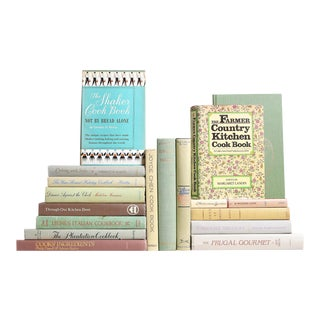 Midcentury Pastel Vintage Cookbooks, S/18