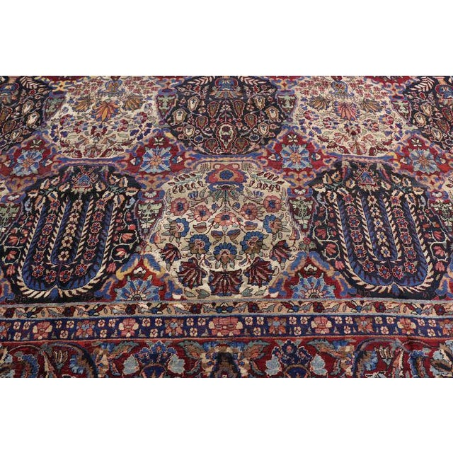 Oversize Antique Persian Yazd with Garden Design in Jewel-Tone Colors For Sale - Image 9 of 10
