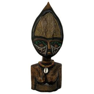 Vintage Hand-Carved Primitive African Wood Bust For Sale