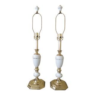 Lenox Porcelain & Brass Table Lamps - a Pair For Sale