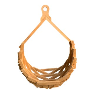 Vintage Mid-Century Hanging Wooden Planter For Sale