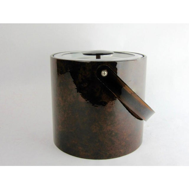 Hollywood Regency 1960s Vintage Georges Briard Tortoise Finish Ice Bucket For Sale - Image 3 of 9