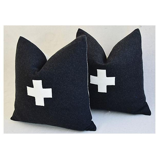 "22"" Custom Tailored Charcoal Appliqué Cross Wool Feather/Down Pillows - a Pair For Sale In Los Angeles - Image 6 of 12"