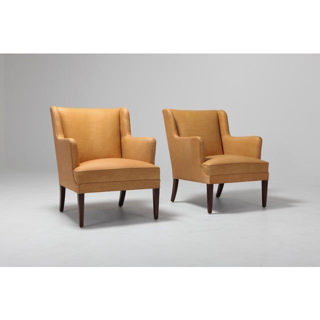 1970s Scandinavian Modern Bergere Chairs in Camel Leather For Sale - Image 5 of 11