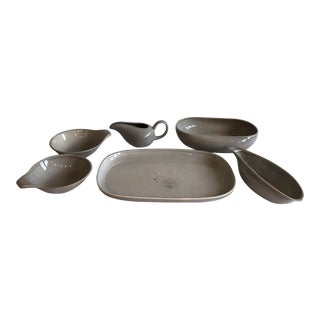 Russel Wright Stoneware Pottery Serving Pieces - 6 Piece Set For Sale