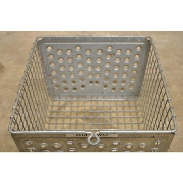 Vintage Kaspar Industrial Wire Works Metal Perforated Storage Gym Locker Basket For Sale In Philadelphia - Image 6 of 12