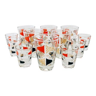 Mid Century Culver Style Glassware - Set of 12 For Sale