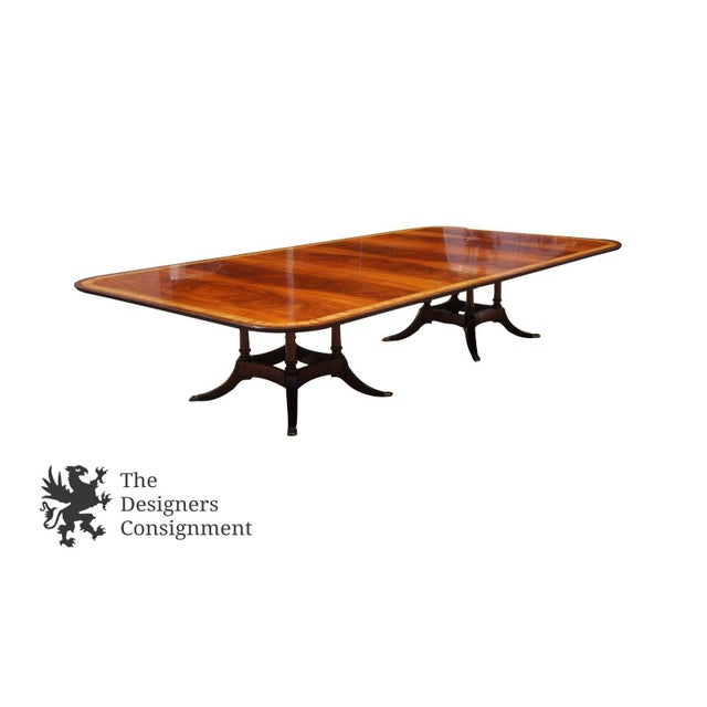 Federal Duncan Phyfe Sheraton Birdcage Style Mahogany Dining Table For Sale - Image 3 of 12