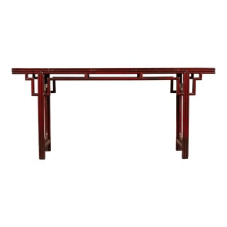 18th C. Chinese Altar Table in Red Lacquer For Sale