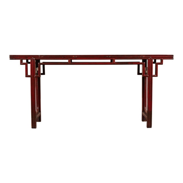 18th C. Chinese Red Lacquer Elm Altar Table For Sale