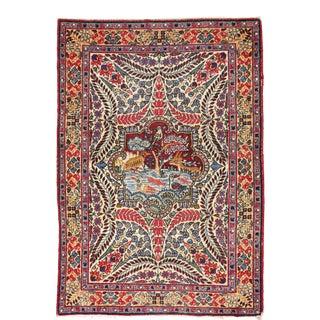 "Cute Antique Persian Kirman Pictorial Rug, Ducks, Fish, Birds! 2'1"" X 2'11 For Sale"