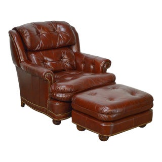 Quality Oxblood Tufted Leather Stationary Club Chair w/ Ottoman by Youngs
