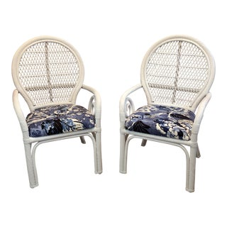 1970s Vintage White and Blue Twisted Rattan Bamboo Palm Beach Regency Boho Style Chairs- a Pair For Sale
